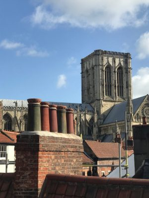 images showing chimney pots on a historic building close to York Minster.