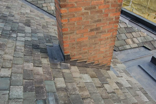lead roofing, example of a lead stepped flashing on a chimney stack.